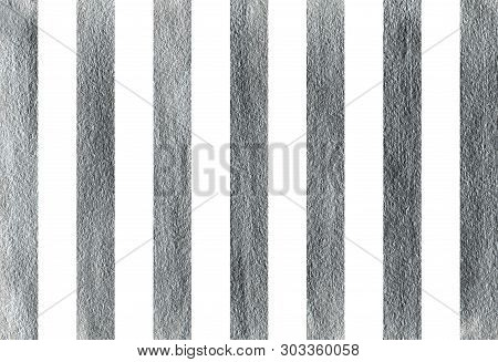 Silver Painted Striped Background. Silver Shining Texture. Silver Paint