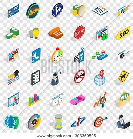 Usable Icons Set. Isometric Style Of 36 Usable Vector Icons For Web For Any Design