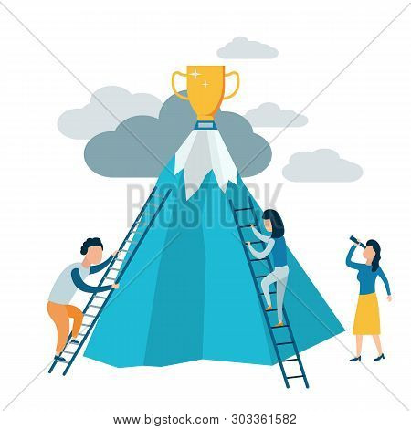 People Climb The Stairs To The Mountain. Achieving Goals, Striving For Success And Leadership. Overc