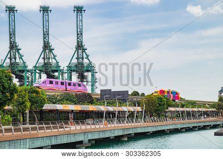 Sentosa Island, Singapore - January 18, 2018: Sentosa Express Is A Monorail Line Connecting Sentosa