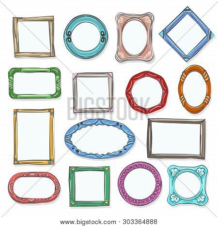 Circle Cartoon Photo Shapes. Decorative Doodle Picture Frames, Hand Drawn Round Cartoon Photo Pictur