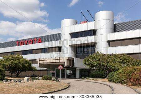 Cologne, Germany - September 2, 2018: Toyota Office Building In Cologne. Toyota Motor Corporation Is