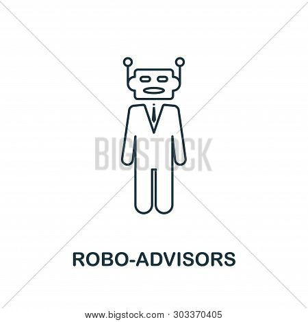 Robo-advisors Icon Outline Style. Thin Line Design From Fintech Icons Collection. Pixel Perfect Robo