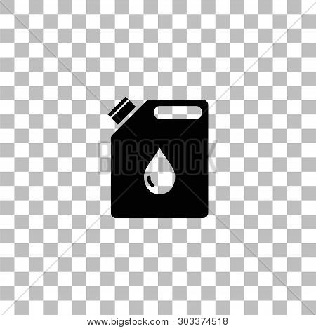 Jerrycan Oil. Black Flat Icon On A Transparent Background. Pictogram For Your Project