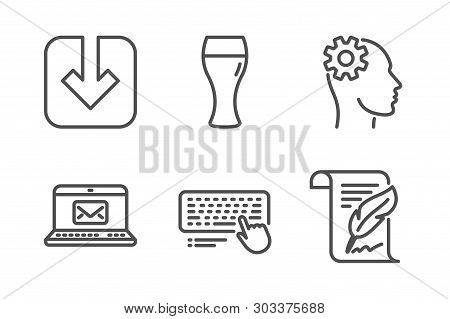 E-mail, Beer Glass And Computer Keyboard Icons Simple Set. Engineering, Load Document And Feather Si