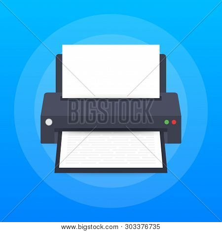 Flat Printer Icon. Printer With Paper A4 Sheet And Printed Text Document. Vector Stock Illustration.