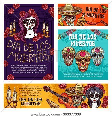 Day Of The Dead Mexican Halloween Holiday Skulls And Dia De Muertos Catrina Sketches. Mexico Festiva