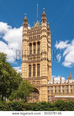 British Parliament Building Westminster In London Uk On A Brilliant Sunny Day And A Blue Sky .