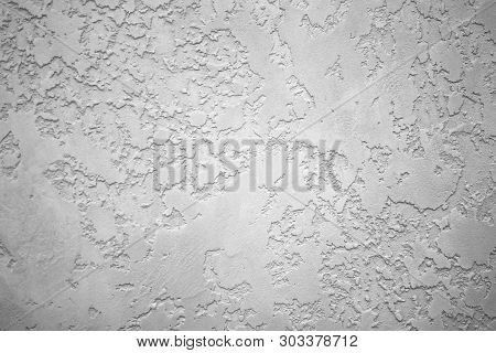 Gray Textured Plaster On The Wall. Wall Without Seams Modern Gray Decor.