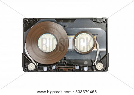 Disassembled Audio Compact Cassette With Sm Mechanism. Audio Cassette With Tape Guides As Security M