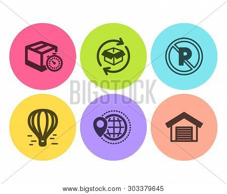 World Travel, Delivery Timer And No Parking Icons Simple Set. Air Balloon, Return Parcel And Parking