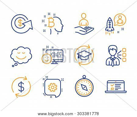 Recruitment, Third Party And Travel Compass Icons Simple Set. Bitcoin Think, Smile And Dollar Exchan