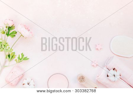 Spa, Beauty Cosmetics And Body Care Treatment Concept With Copy Space. Creative Top View Flat Lay Co