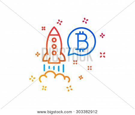 Bitcoin Line Icon. Cryptocurrency Startup Sign. Crypto Rocket Symbol. Gradient Design Elements. Line