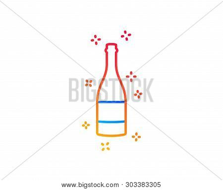 Champagne Bottle Line Icon. Anniversary Alcohol Sign. Celebration Event Drink. Gradient Design Eleme