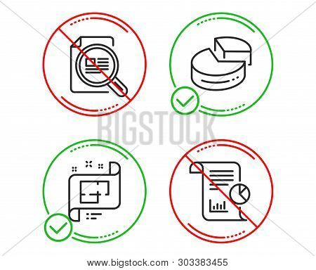 Do Or Stop. Pie Chart, Check Article And Architectural Plan Icons Simple Set. Report Sign. 3d Graph,