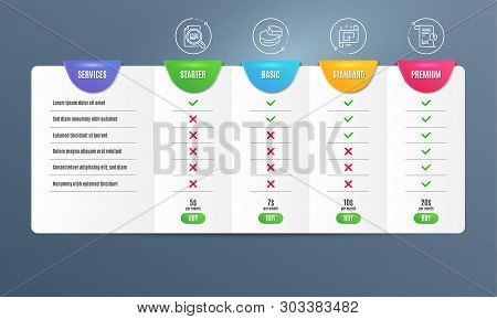 Pie Chart, Check Article And Architectural Plan Icons Simple Set. Comparison Table. Report Sign. 3d