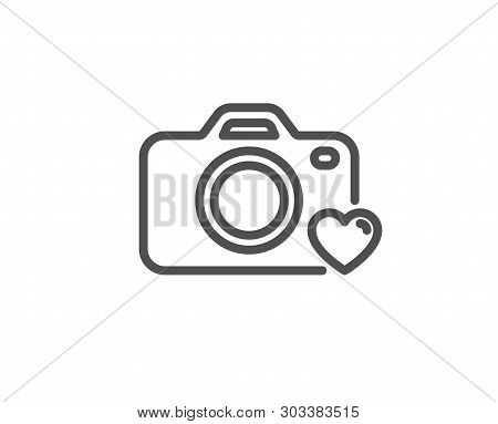 Photo Camera Line Icon. Love Photography Sign. Heart Symbol. Quality Design Element. Linear Style Ph