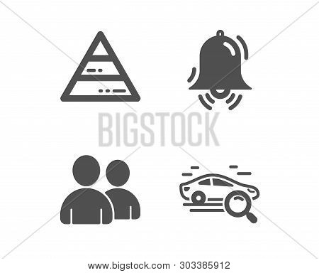 Set Of Pyramid Chart, Clock Bell And Users Icons. Search Car Sign. Report Analysis, Alarm, Couple Of