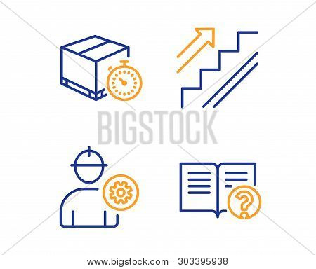 Delivery Timer, Stairs And Engineer Icons Simple Set. Help Sign. Express Logistics, Stairway, Worker
