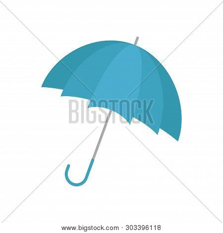 Umbrella. Blue Umbrella Icon. Accessory. Open Umbrella. Vector Illustration. Umbrella On White Backg