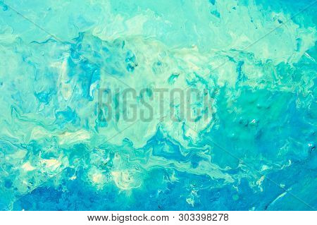 Abstract Teal Blue Paint Background. Color Gradient Liquid Mix Fluid Blend Texture. Acrylic Marble E