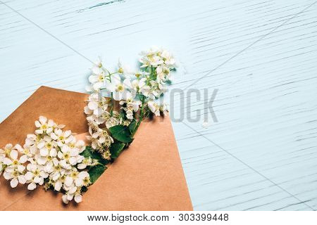 Bird Cherry Blossom Branch In Envelope On Blue Wood Background. Top View With Copy Space.