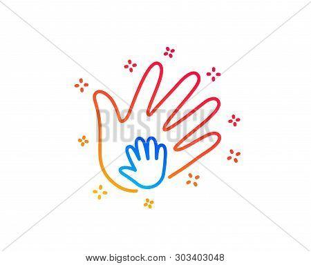 Hand Line Icon. Social Responsibility Sign. Honesty, Collaboration Symbol. Gradient Design Elements.