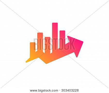 Growth Chart Icon. Discount Sign. Sale Diagram Symbol. Classic Flat Style. Gradient Growth Chart Ico