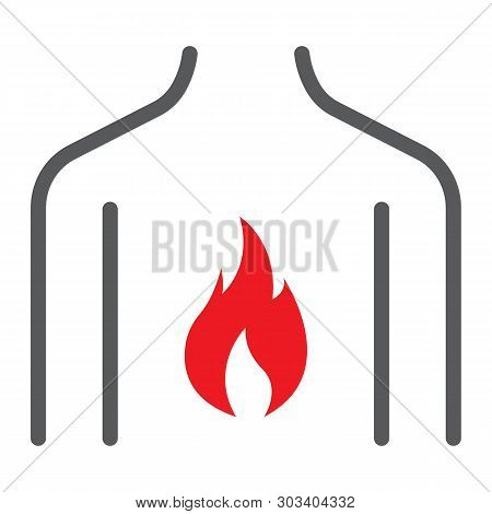 Chest Pain Line Icon, Body And Pain, Heartburn Sign, Vector Graphics, A Linear Pattern On A White Ba