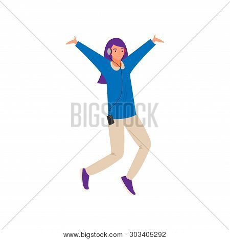 Modern Dancing Young Girl With Violet Color Hair