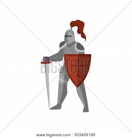 Medieval Knight With Long Sword And Red Cross Shield