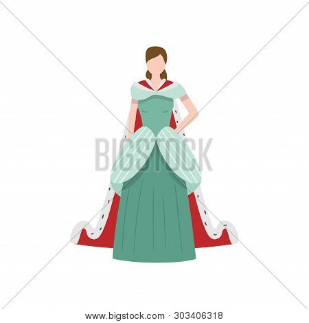 Cute Elegant Royal Medieval Princess With Long Dress