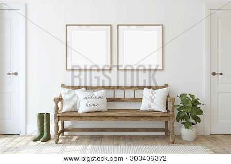 Farmhouse Entryway. Wooden Bench Near White Wall. Frame Mockup. Two Wooden Square Frames On The Wall