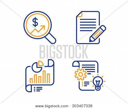Article, Report Document And Currency Audit Icons Simple Set. Cogwheel Sign. Feedback, Growth Chart,