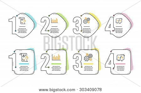 Bar Diagram, Report And Cogwheel Icons Simple Set. Ab Testing Sign. Statistics Infochart, Work Stati