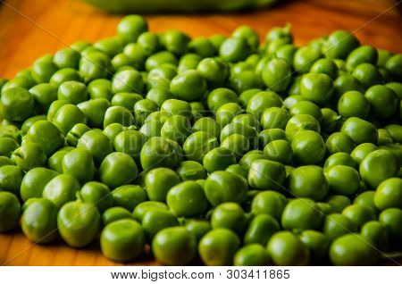 A Lot Of Green Peas. Ripe Beans