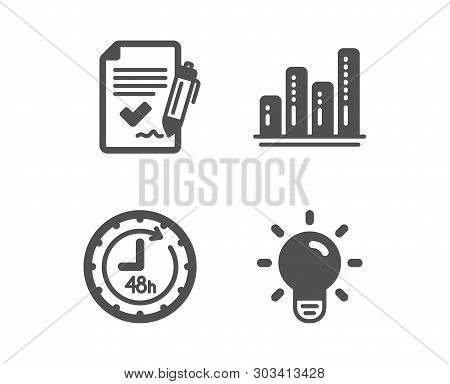 Set Of 48 Hours, Graph Chart And Approved Agreement Icons. Light Bulb Sign. Delivery Service, Growth