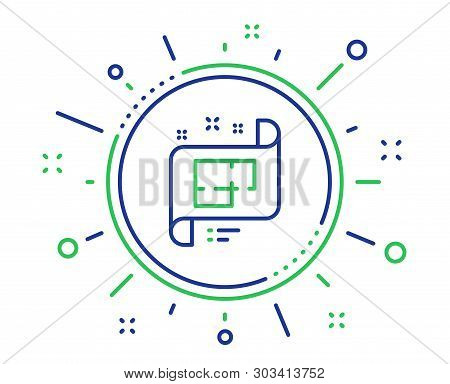 Architectural Plan Line Icon. Technical Project Sign. Quality Design Elements. Technology Architectu