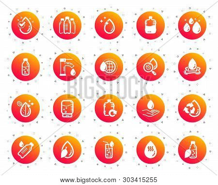 Water drop icons. Set of Bottle, Antibacterial filter and Tap water icons. Bacteria, Cooler and Refill barrel bottle. Liquid drop, antibacterial cleaner and drink machine, tap. Gradient buttons set poster