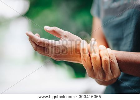 Close Up Young Women Wrist Pain , Office Syndrome , Health Care Concept