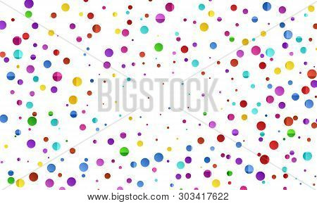 Festive Colorful Round Confetti Background. Vector Illustration For Decoration Of Holidays, Postcard