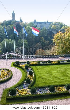 Flags and city vetical postcard at Luxembourg poster