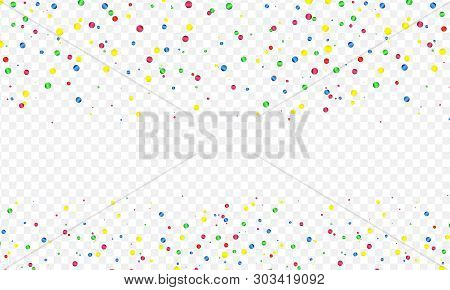 Colorful Vector Serpentine And Confetti On Transparent Background. Transparency Grid Imitation
