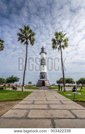 Lima, Peru April 29, 2019: View Of The Lighthouse In Miraflores A District In The South Of The City.
