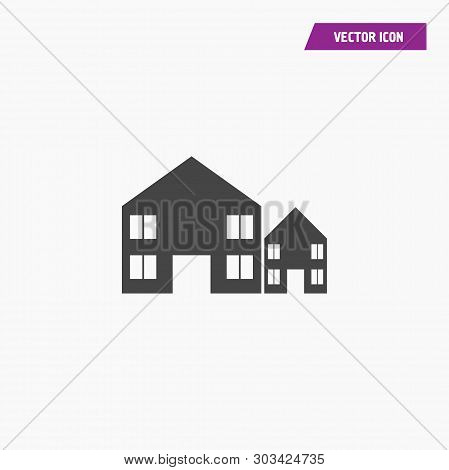 Black Flat Building, Houses, Accomodation Icons With Windows. Vector.