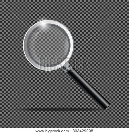 Realistic Magnifying Glass. Magnification Zoom Loupe, Scrutiny Microscope Magnify Lens. Detective To