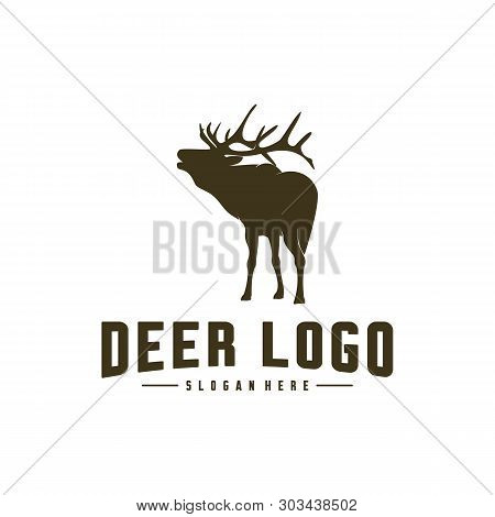 Deer Logo Design Icon Symbol. Deer Vector. Deer Silhouette