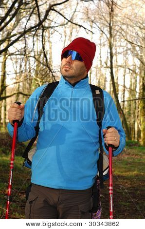 A Handsome Middle Age Hispanic Latin Man Hiking