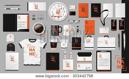 Corporate Branding Identity Template Design. Modern Realistic Colorful Business Stationery Mockup. S